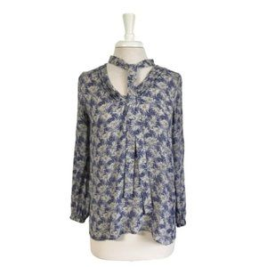 Lucky Brand Blue White Blouse Tunic with Tie Small